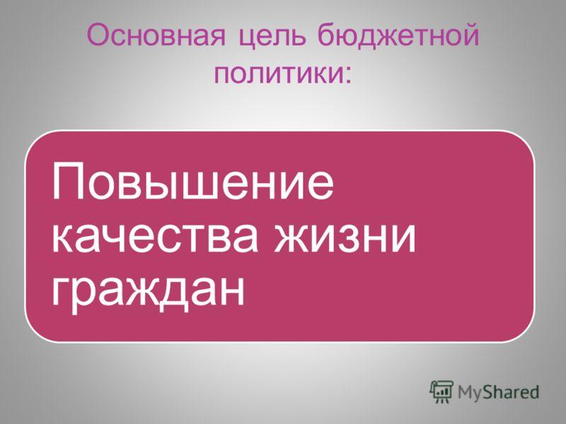 Основная цель бюджетной политики: Повышение качества жизни граждан