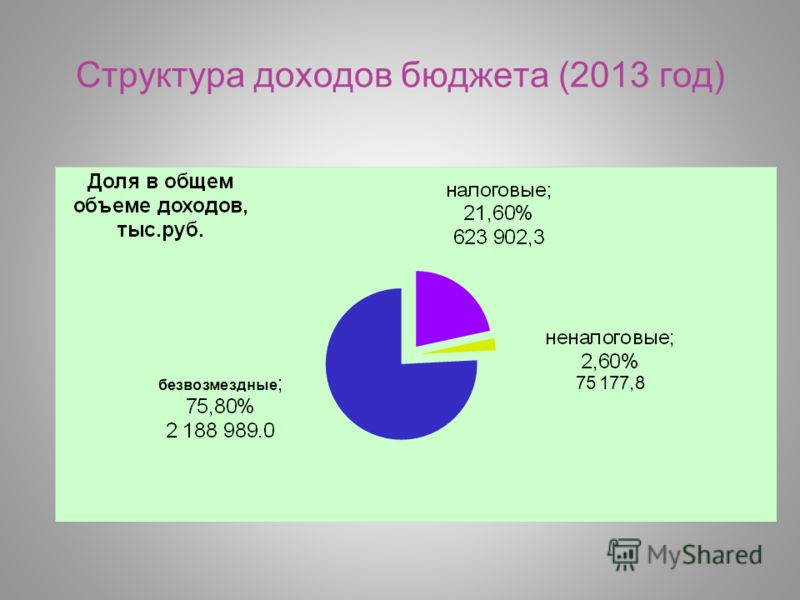 Структура доходов бюджета (2013 год)