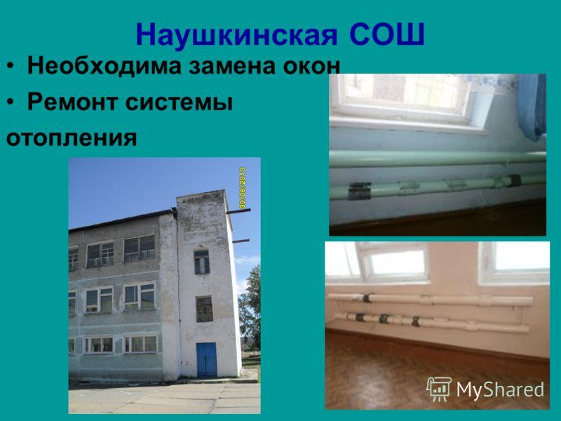 Наушкинская СОШ Необходима замена окон Ремонт системы отопления