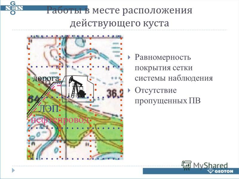 Работы в месте расположения действующего куста Равномерность покрытия сетки системы наблюдения Отсутствие пропущенных ПВ