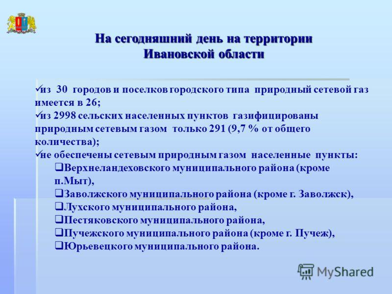 На сегодняшний день на территории Ивановской области из 30 городов и поселков городского типа природный сетевой газ имеется в 26; из 2998 сельских населенных пунктов газифицированы природным сетевым газом только 291 (9,7 % от общего количества); не о