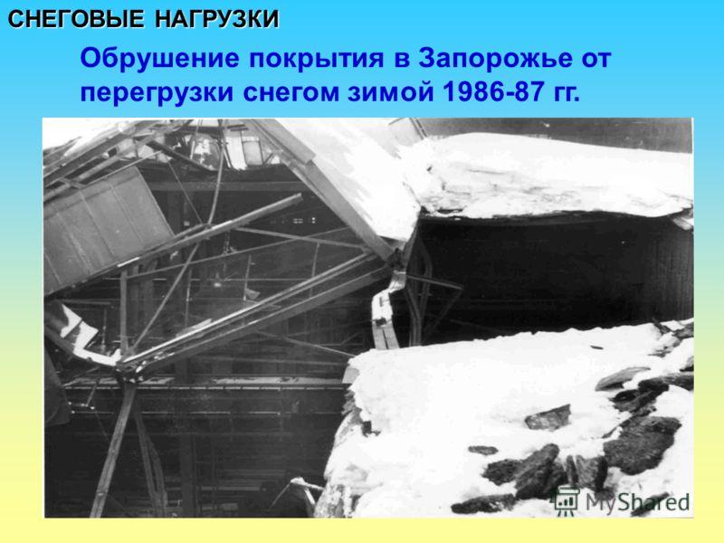 СНЕГОВЫЕ НАГРУЗКИ Обрушение покрытия в Запорожье от перегрузки снегом зимой 1986-87 гг.