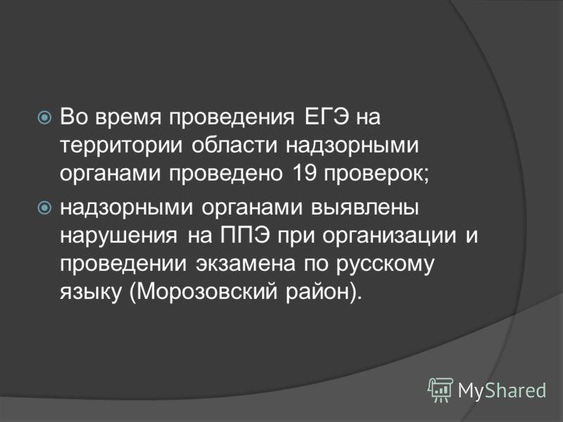 Во время проведения ЕГЭ на территории области надзорными органами проведено 19 проверок; надзорными органами выявлены нарушения на ППЭ при организации и проведении экзамена по русскому языку (Морозовский район).