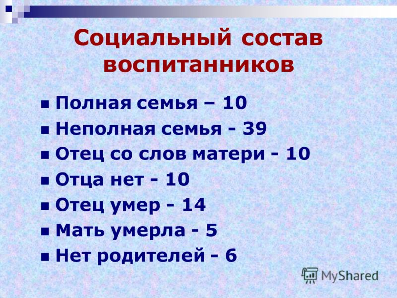 Социальный состав воспитанников Полная семья – 10 Неполная семья - 39 Отец со слов матери - 10 Отца нет - 10 Отец умер - 14 Мать умерла - 5 Нет родителей - 6