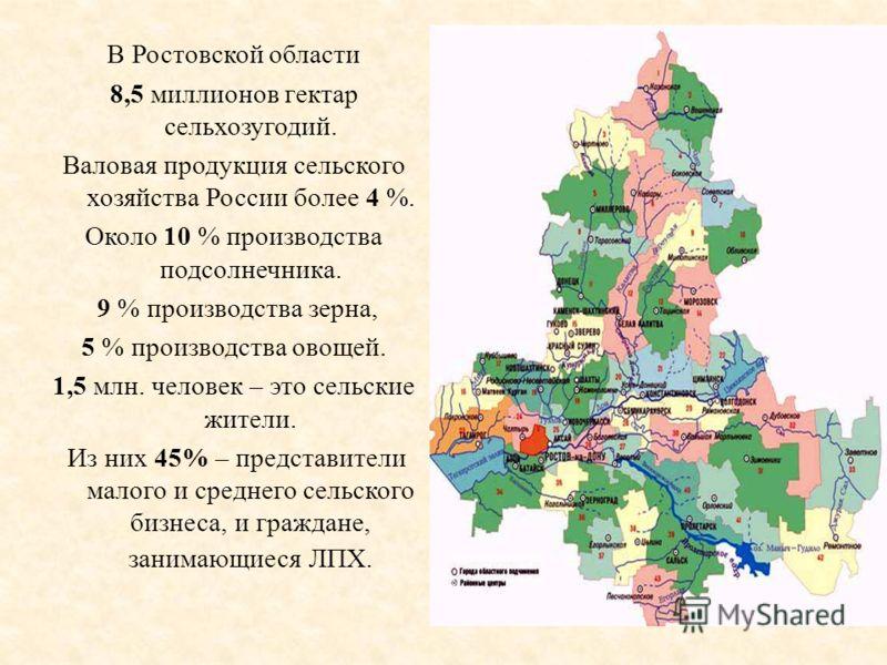 В Ростовской области 8,5 миллионов гектар сельхозугодий. Валовая продукция сельского хозяйства России более 4 %. Около 10 % производства подсолнечника. 9 % производства зерна, 5 % производства овощей. 1,5 млн. человек – это сельские жители. Из них 45