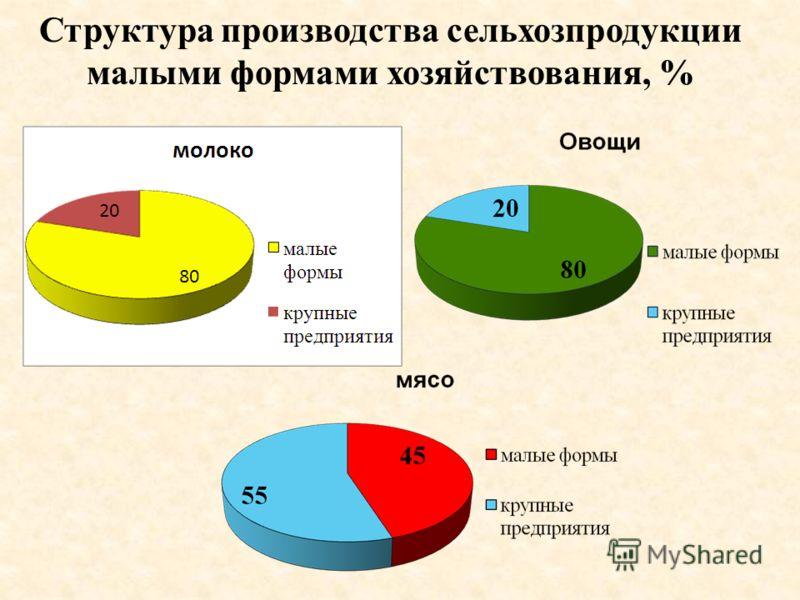 Структура производства сельхозпродукции малыми формами хозяйствования, %