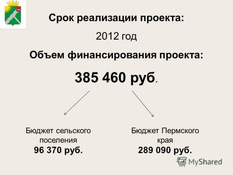 Срок реализации проекта: 2012 год Объем финансирования проекта: 385 460 руб. Бюджет сельского поселения 96 370 руб. Бюджет Пермского края 289 090 руб.