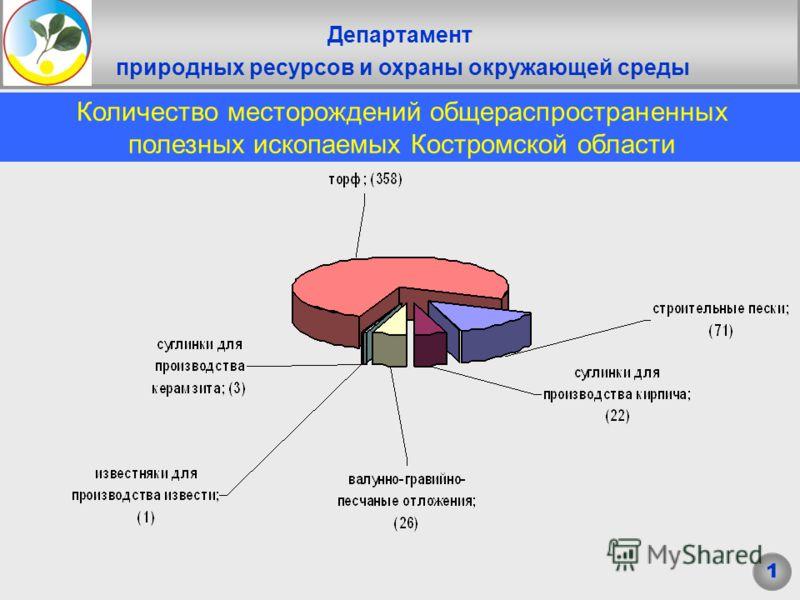 Департамент природных ресурсов и охраны окружающей среды Заголовок Количество месторождений общераспространенных полезных ископаемых Костромской области 1