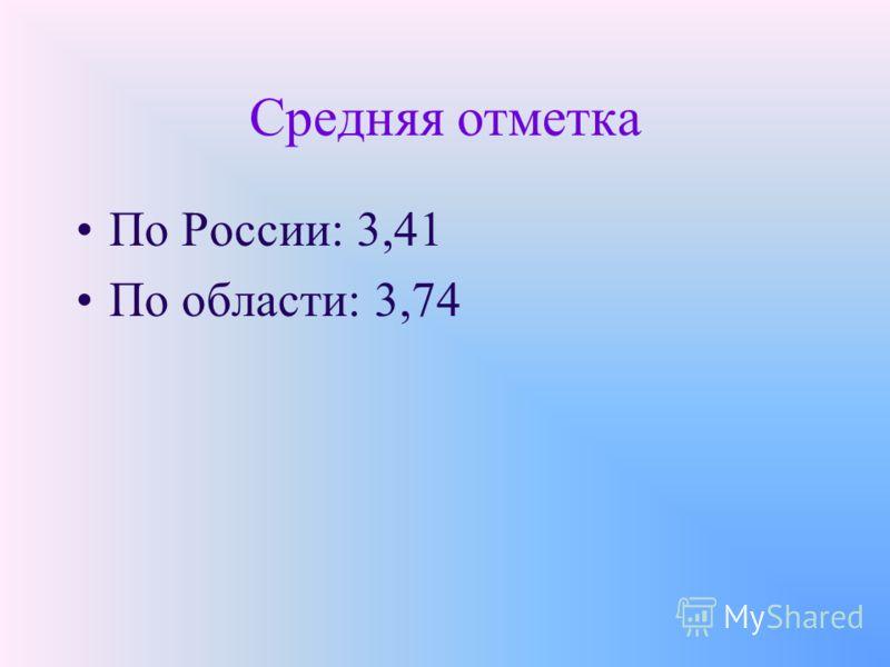Средняя отметка По России: 3,41 По области: 3,74
