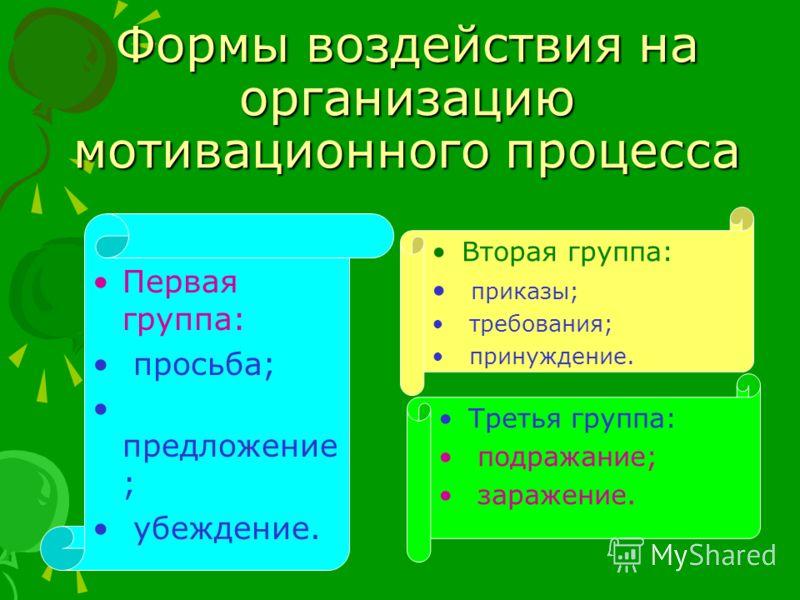 Формы воздействия на организацию мотивационного процесса Первая группа: просьба; предложение ; убеждение. Вторая группа: приказы; требования; принуждение. Третья группа: подражание; заражение.