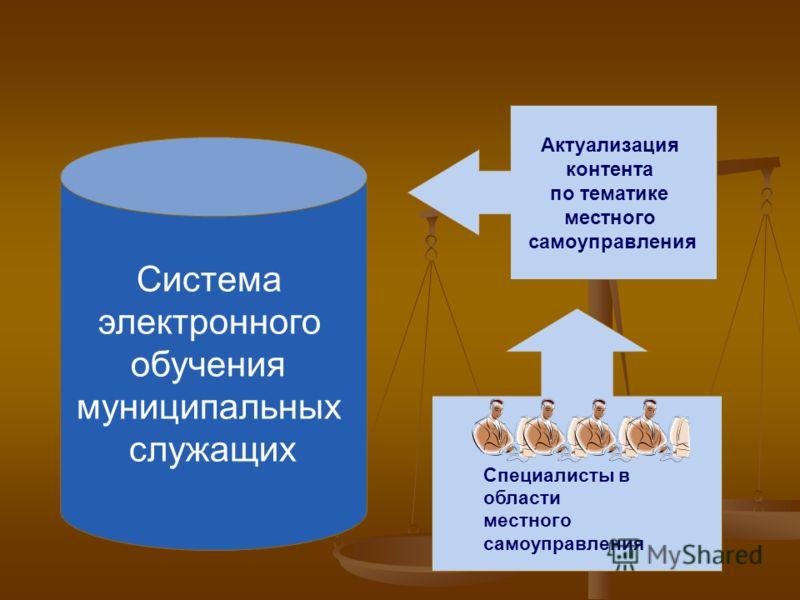 Система электронного обучения муниципальных служащих Актуализация контента по тематике местного самоуправления Специалисты в области местного самоуправления