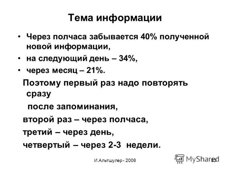 И.Альтшулер - 200653 Тема информации Через полчаса забывается 40% полученной новой информации, на следующий день – 34%, через месяц – 21%. Поэтому первый раз надо повторять сразу после запоминания, второй раз – через полчаса, третий – через день, чет