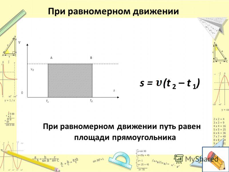 При равномерном движении v v0v0 AB t1t1 t2t2 t 0 s = (t 2 – t 1 ) При равномерном движении путь равен площади прямоугольника