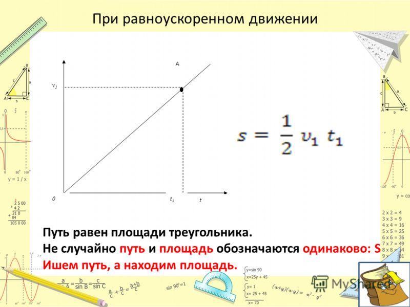 При равноускоренном движении v1v1 A 0 t1t1 t Путь равен площади треугольника. Не случайно путь и площадь обозначаются одинаково: S Ишем путь, а находим площадь.