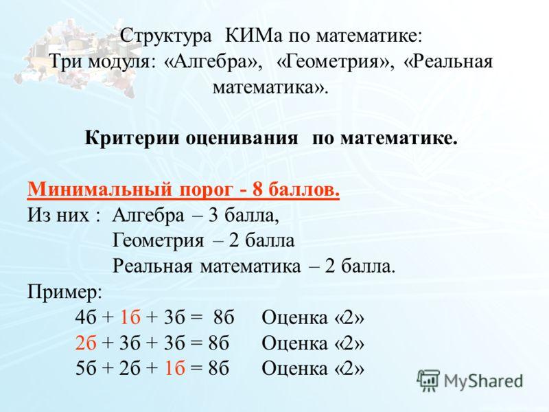 113 Структура КИМа по математике: Три модуля: «Алгебра», «Геометрия», «Реальная математика». Критерии оценивания по математике. Минимальный порог - 8 баллов. Из них : Алгебра – 3 балла, Геометрия – 2 балла Реальная математика – 2 балла. Пример: 4б +