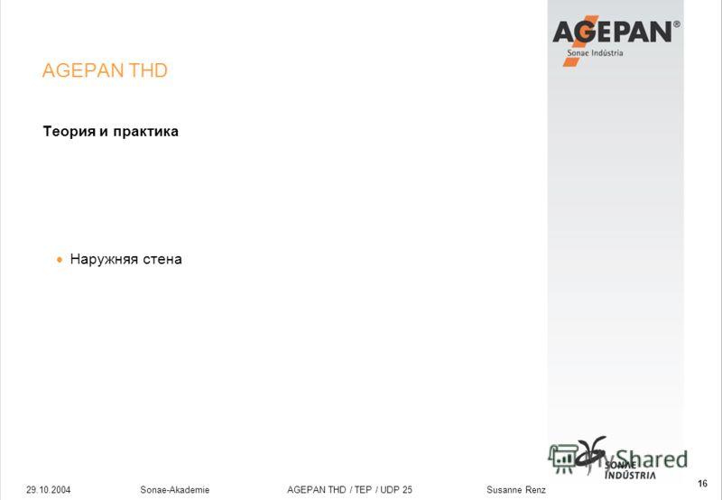 29.10.2004Sonae-Akademie AGEPAN THD / TEP / UDP 25 Susanne Renz 16 AGEPAN THD Теория и практика Наружняя стена