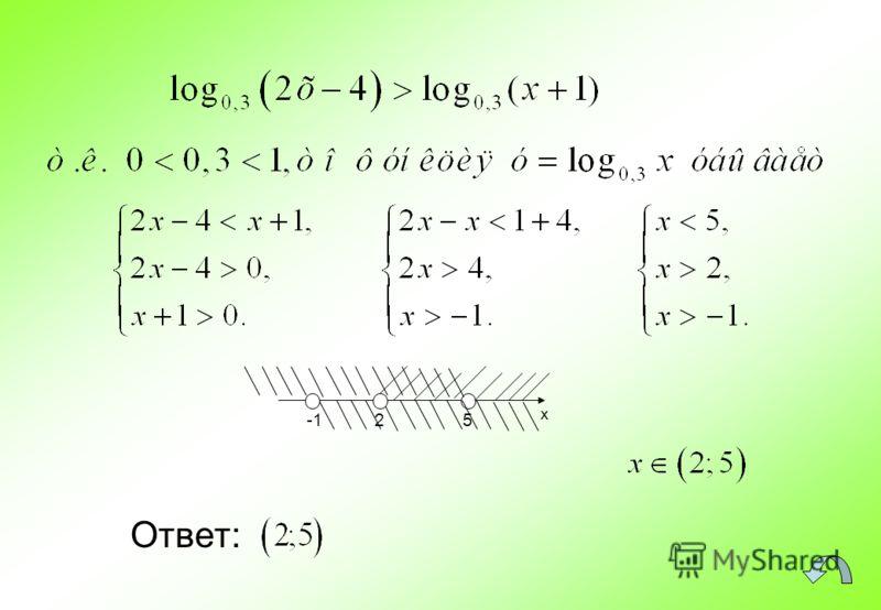 Ответ: x 5 2
