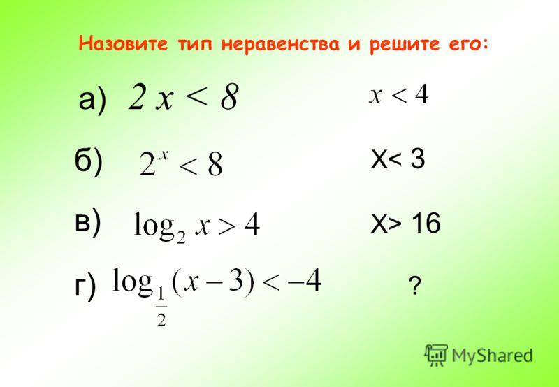 Назовите тип неравенства и решите его: а) 2 х < 8 б) в) X< 3 г) ? X> 16