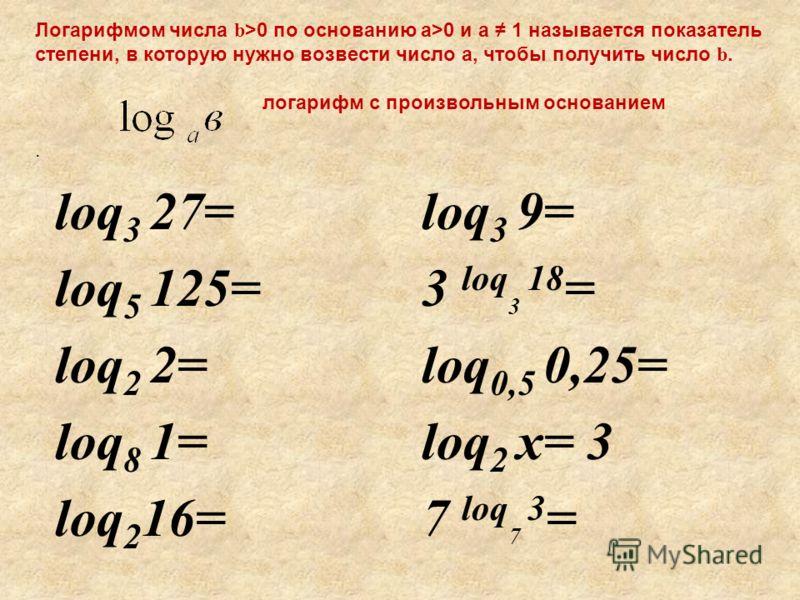 Логарифмом числа b >0 по основанию а>0 и а 1 называется показатель степени, в которую нужно возвести число а, чтобы получить число b. логарифм с произвольным основанием. loq 3 27= loq 5 125= loq 2 2= loq 8 1= loq 2 16= loq 3 9= 3 loq 3 18 = loq 0,5 0