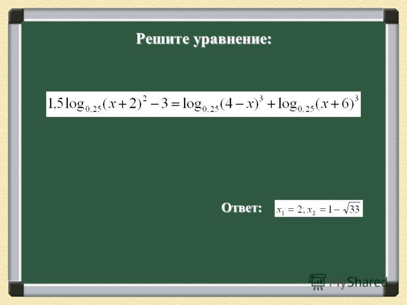Работа в группах. Определите метод решения каждого уравнения и решите любые три уравнения корней нет