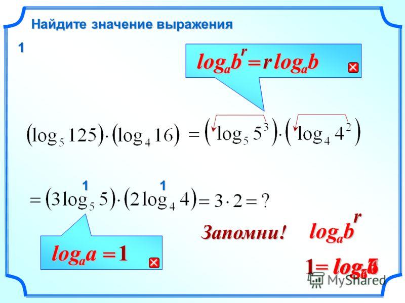 77log Найдите значение выражения rb a log = rb a log a a log = 1 rbalogЗапомни! aalog =144log66log11 1