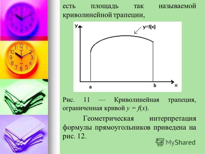 есть площадь так называемой криволинейной трапеции, Рис. 11 Криволинейная трапеция, ограниченная кривой y = f(x). Геометрическая интерпретация формулы прямоугольников приведена на рис. 12.