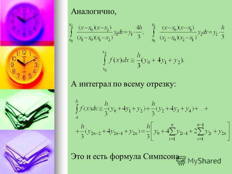 Аналогично, А интеграл по всему отрезку: Это и есть формула Симпсона.