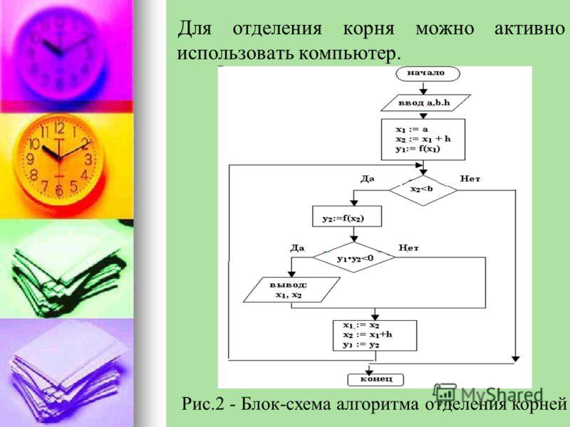 Для отделения корня можно активно использовать компьютер. Рис.2 - Блок-схема алгоритма отделения корней