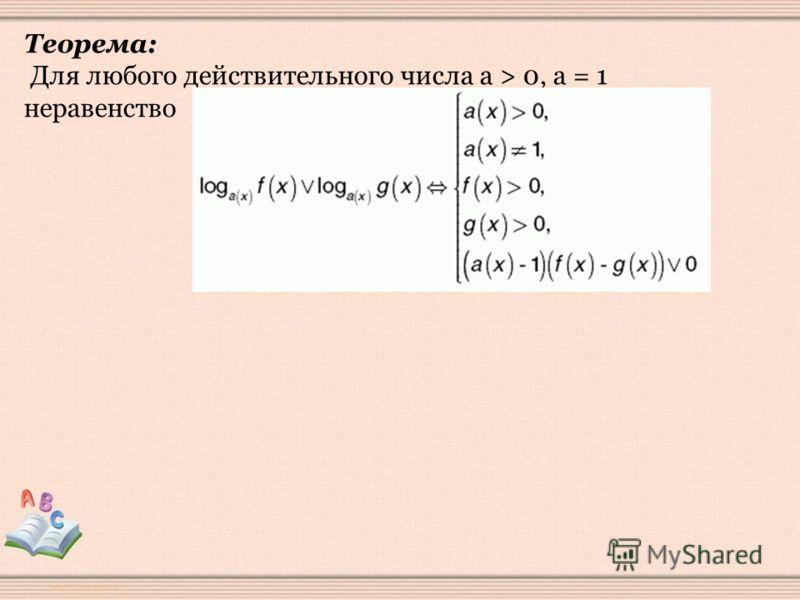 Теорема: Для любого действительного числа а > 0, а = 1 неравенство