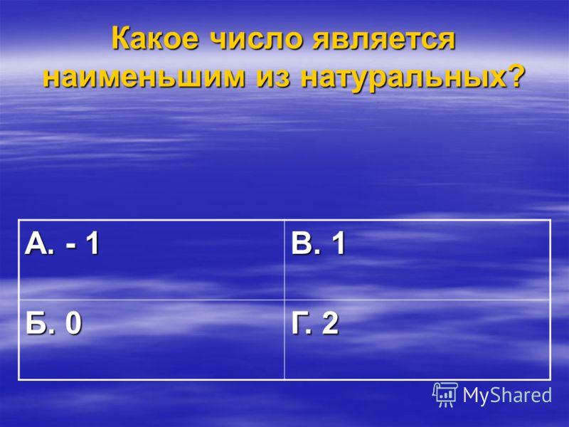 Какое число является наименьшим из натуральных? А. - 1 В. 1 Б. 0 Г. 2