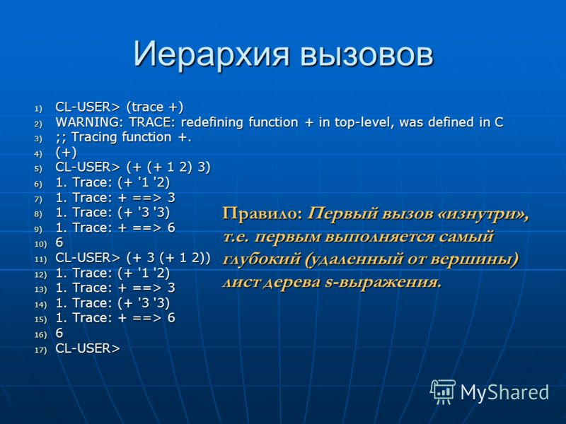 Иерархия вызовов 1) CL-USER> (trace +) 2) WARNING: TRACE: redefining function + in top-level, was defined in C 3) ;; Tracing function +. 4) (+) 5) CL-USER> (+ (+ 1 2) 3) 6) 1. Trace: (+ '1 '2) 7) 1. Trace: + ==> 3 8) 1. Trace: (+ '3 '3) 9) 1. Trace: