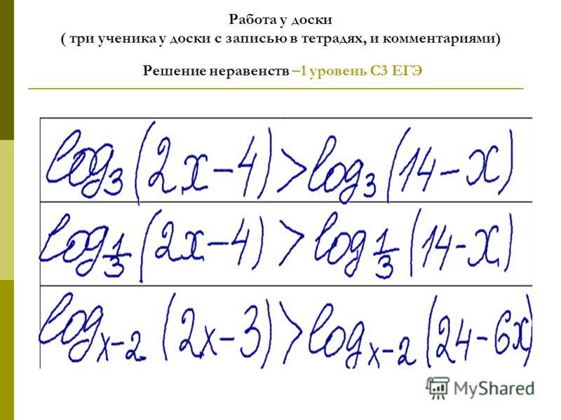 Работа у доски ( три ученика у доски с записью в тетрадях, и комментариями) Решение неравенств –1 уровень С3 ЕГЭ