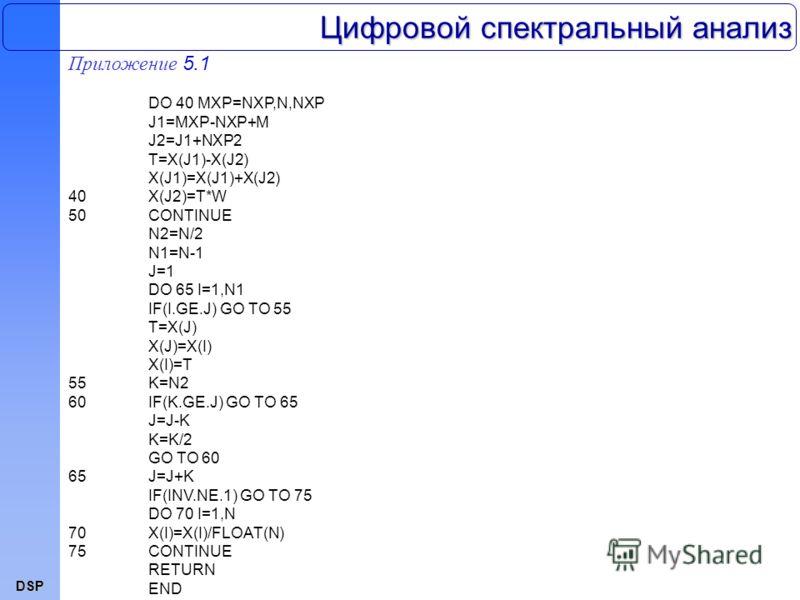 DSP Приложение 5.1 DO 40 MXP=NXP,N,NXP J1=MXP-NXP+M J2=J1+NXP2 T=X(J1)-X(J2) X(J1)=X(J1)+X(J2) 40X(J2)=T*W 50CONTINUE N2=N/2 N1=N-1 J=1 DO 65 I=1,N1 IF(I.GE.J) GO TO 55 T=X(J) X(J)=X(I) X(I)=T 55K=N2 60IF(K.GE.J) GO TO 65 J=J-K K=K/2 GO TO 60 65J=J+K