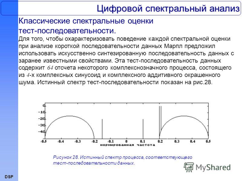DSP Цифровой спектральный анализ Классические спектральные оценки тест-последовательности. Для того, чтобы охарактеризовать поведение каждой спектральной оценки при анализе короткой последовательности данных Марпл предложил использовать искусственно