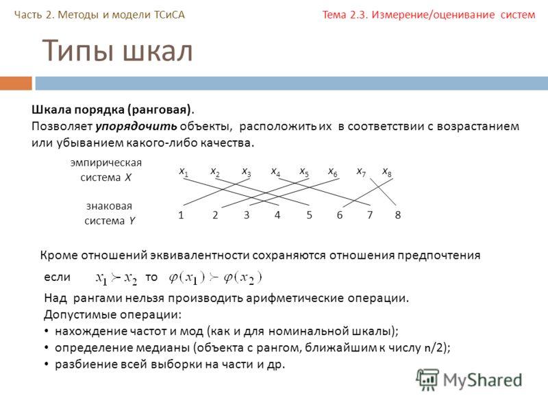 Типы шкал Часть 2. Методы и модели ТСиСА Тема 2.3. Измерение/оценивание систем Шкала порядка ( ранговая ). Позволяет упорядочить объекты, расположить их в соответствии с возрастанием или убыванием какого - либо качества. 1 эмпирическая система X знак
