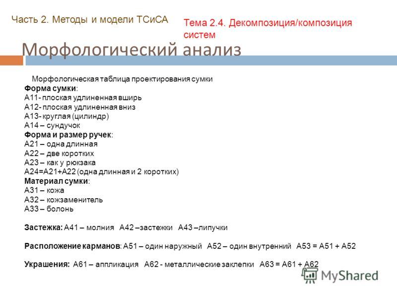 Морфологический анализ Часть 2. Методы и модели ТСиСА Тема 2.4. Декомпозиция/композиция систем Морфологическая таблица проектирования сумки Форма сумки: А11- плоская удлиненная вширь А12- плоская удлиненная вниз А13- круглая (цилиндр) А14 – сундучок