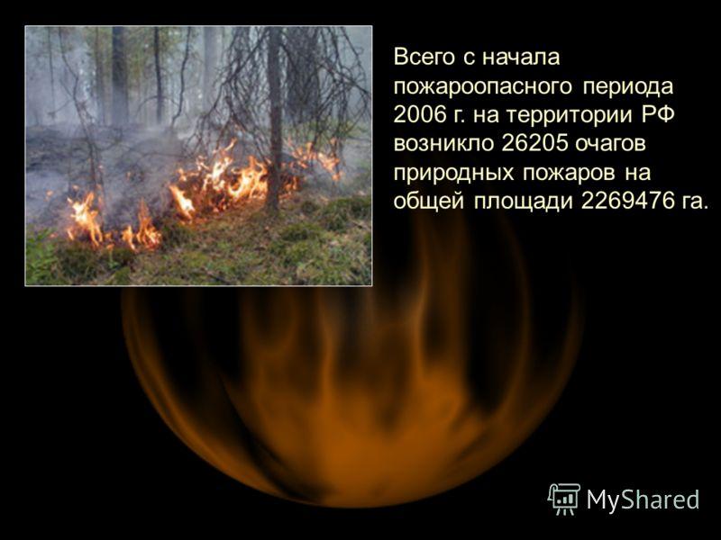 Всего с начала пожароопасного периода 2006 г. на территории РФ возникло 26205 очагов природных пожаров на общей площади 2269476 га.