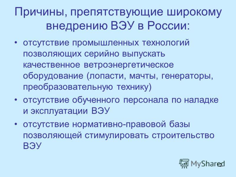 Причины, препятствующие широкому внедрению ВЭУ в России: отсутствие промышленных технологий позволяющих серийно выпускать качественное ветроэнергетическое оборудование (лопасти, мачты, генераторы, преобразовательную технику) отсутствие обученного пер