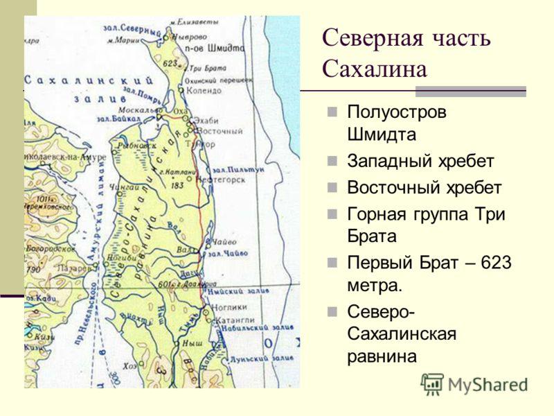 Северная часть Сахалина Полуостров Шмидта Западный хребет Восточный хребет Горная группа Три Брата Первый Брат – 623 метра. Северо- Сахалинская равнина
