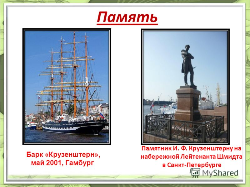 Память Памятник И. Ф. Крузенштерну на набережной Лейтенанта Шмидта в Санкт-Петербурге Барк «Крузенштерн», май 2001, Гамбург