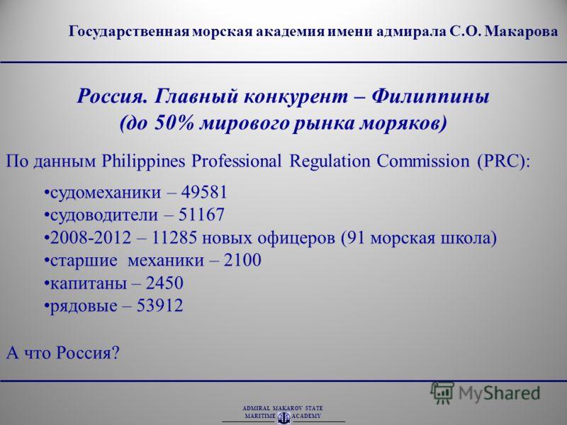 ADMIRAL MAKAROV STATE MARITIME ACADEMY Государственная морская академия имени адмирала С.О. Макарова Россия. Главный конкурент – Филиппины (до 50% мирового рынка моряков) По данным Philippines Professional Regulation Commission (PRC): судомеханики –