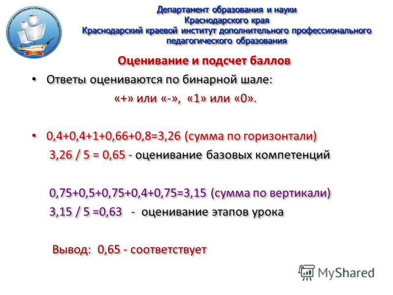 Департамент образования и науки Краснодарского края Краснодарский краевой институт дополнительного профессионального педагогического образования Оценивание и подсчет баллов Ответы оцениваются по бинарной шале: «+» или «-», «1» или «0». 0,4+0,4+1+0,66