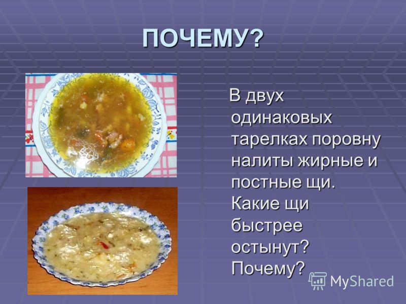 ПОЧЕМУ? В двух одинаковых тарелках поровну налиты жирные и постные щи. Какие щи быстрее остынут? Почему? В двух одинаковых тарелках поровну налиты жирные и постные щи. Какие щи быстрее остынут? Почему?