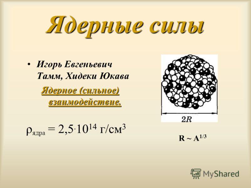 Ядерные силы Игорь Евгеньевич Тамм, Хидеки Юкава Ядерное (сильное) взаимодействие. R ~ А 1/3 ρ ядра = 2,5. 10 14 г/см 3