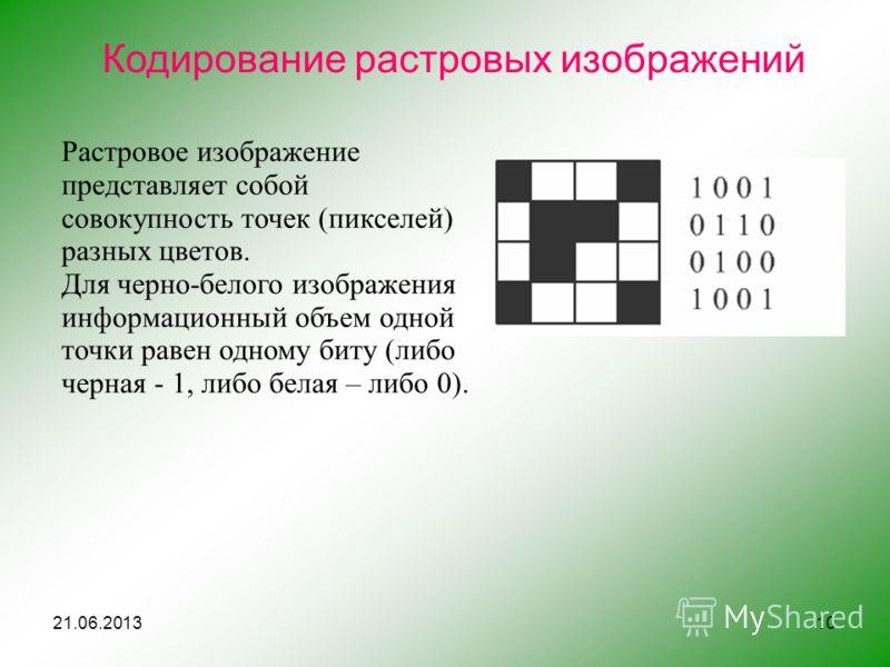 10 Кодирование растровых изображений Растровое изображение представляет собой совокупность точек (пикселей) разных цветов. Для черно-белого изображения информационный объем одной точки равен одному биту (либо черная - 1, либо белая – либо 0). 21.06.2