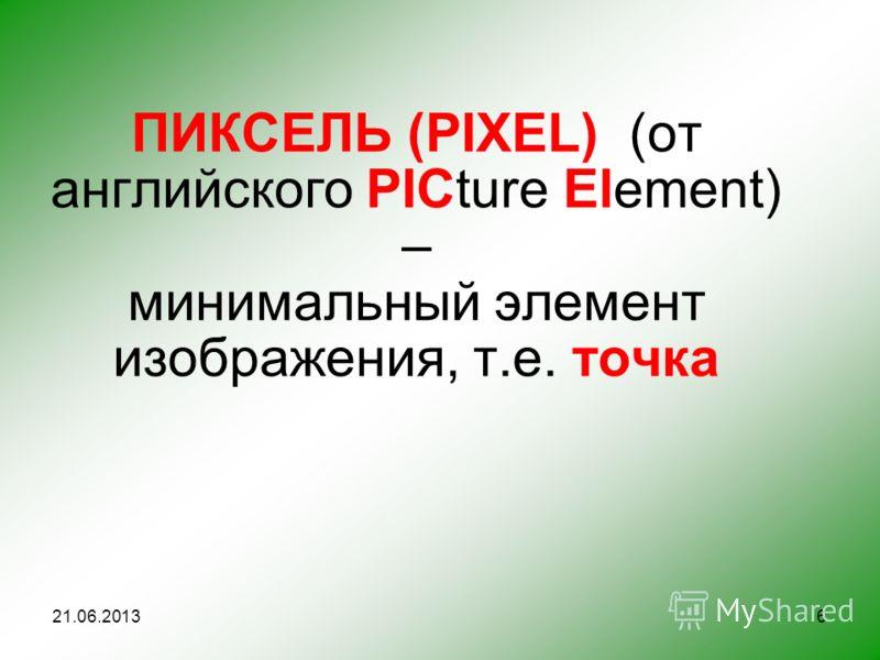 ПИКСЕЛЬ (PIXEL) (от английского PICture Element) – минимальный элемент изображения, т.е. точка 21.06.20136
