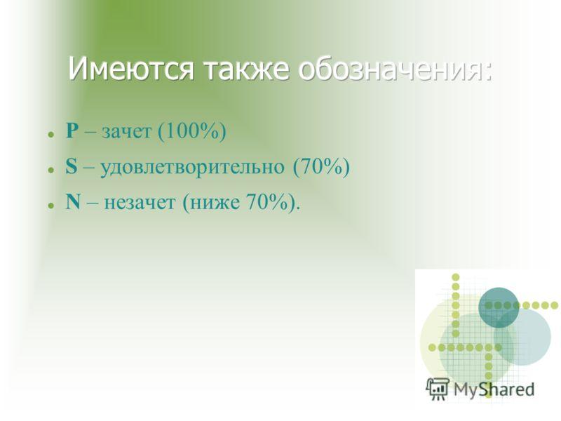 Р – зачет (100%) S – удовлетворительно (70%) N – незачет (ниже 70%).