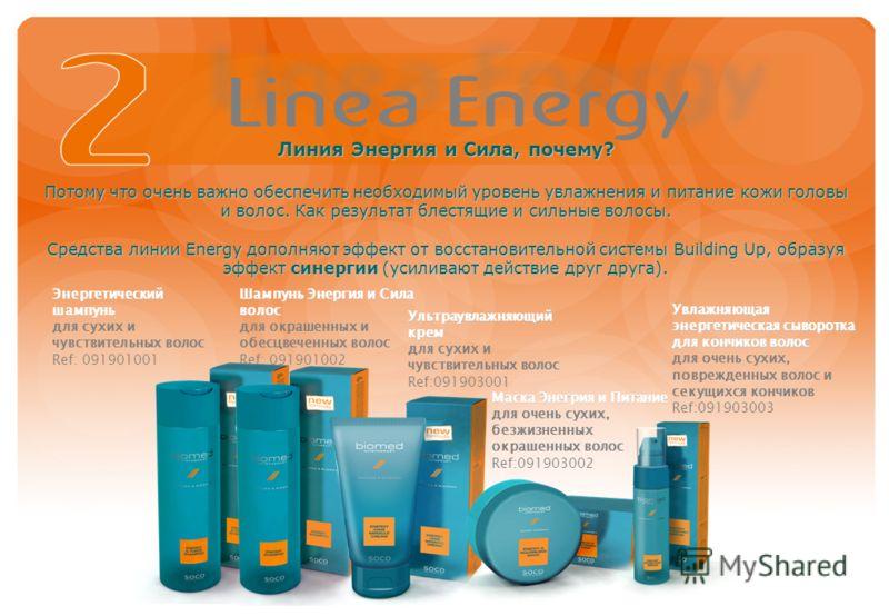 Линия Энергия и Сила, почему? Потому что очень важно обеспечить необходимый уровень увлажнения и питание кожи головы и волос. Как результат блестящие и сильные волосы. Средства линии Energy дополняют эффект от восстановительной системы Building Up, о