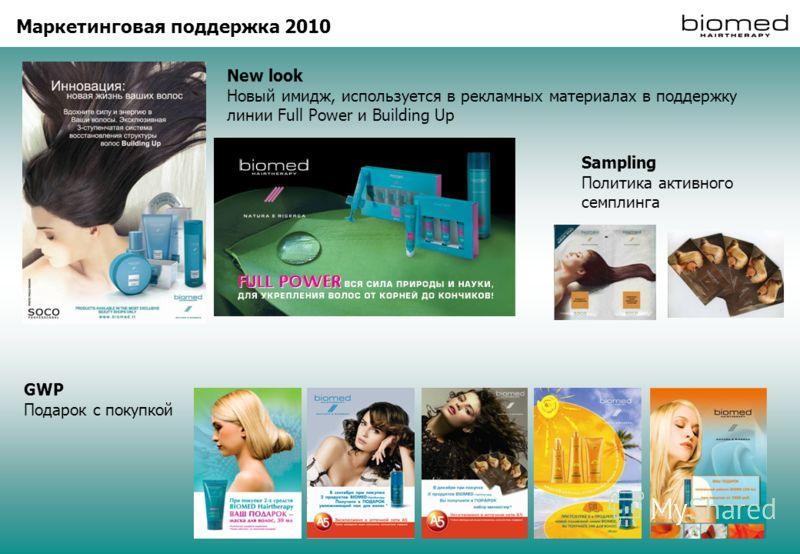 Маркетинговая поддержка 2010 New look Новый имидж, используется в рекламных материалах в поддержку линии Full Power и Building Up Sampling Политика активного семплинга GWP Подарок с покупкой