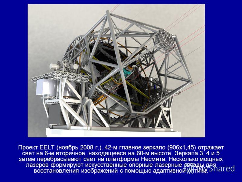 Проект EELT (ноябрь 2008 г.). 42-м главное зеркало (906х1,45) отражает свет на 6-м вторичное, находящееся на 60-м высоте. Зеркала 3, 4 и 5 затем перебрасывают свет на платформы Несмита. Несколько мощных лазеров формируют искусственные опорные лазерны